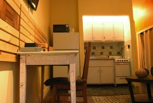 kitchen and desk